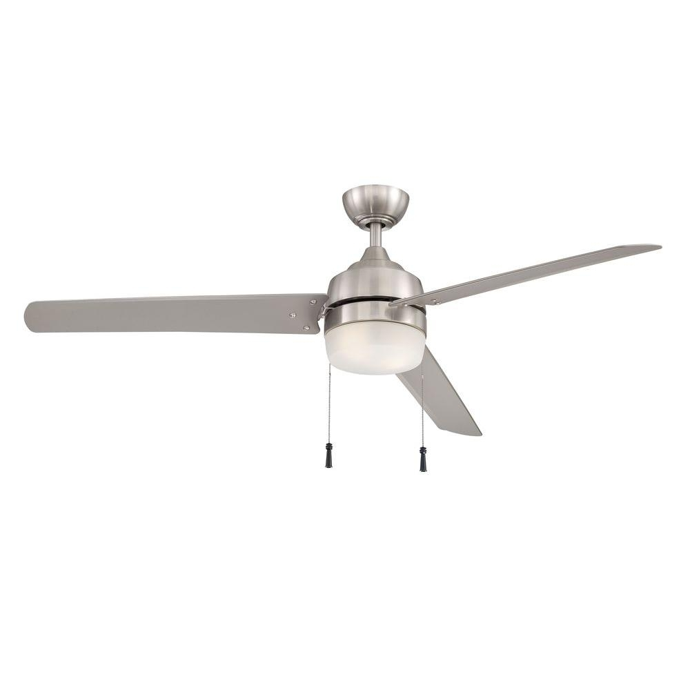 Favorite 60 Inch Outdoor Ceiling Fans With Lights With Regard To Home Decorators Collection Carrington 60 In. Brushed Nickel Ceiling (Gallery 17 of 20)
