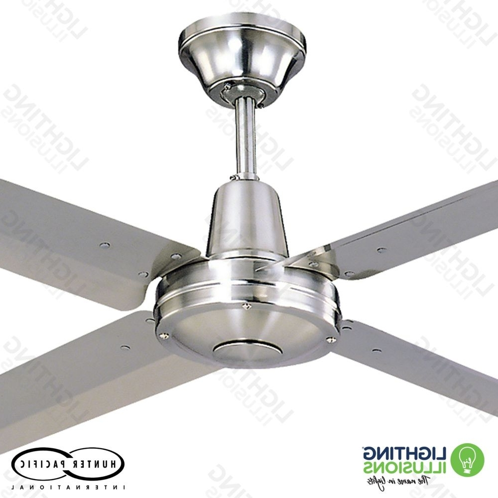 Favorite Modern Ceiling Fans – Metal Blades – Lighting Illusions Online Intended For Stainless Steel Outdoor Ceiling Fans With Light (View 11 of 20)