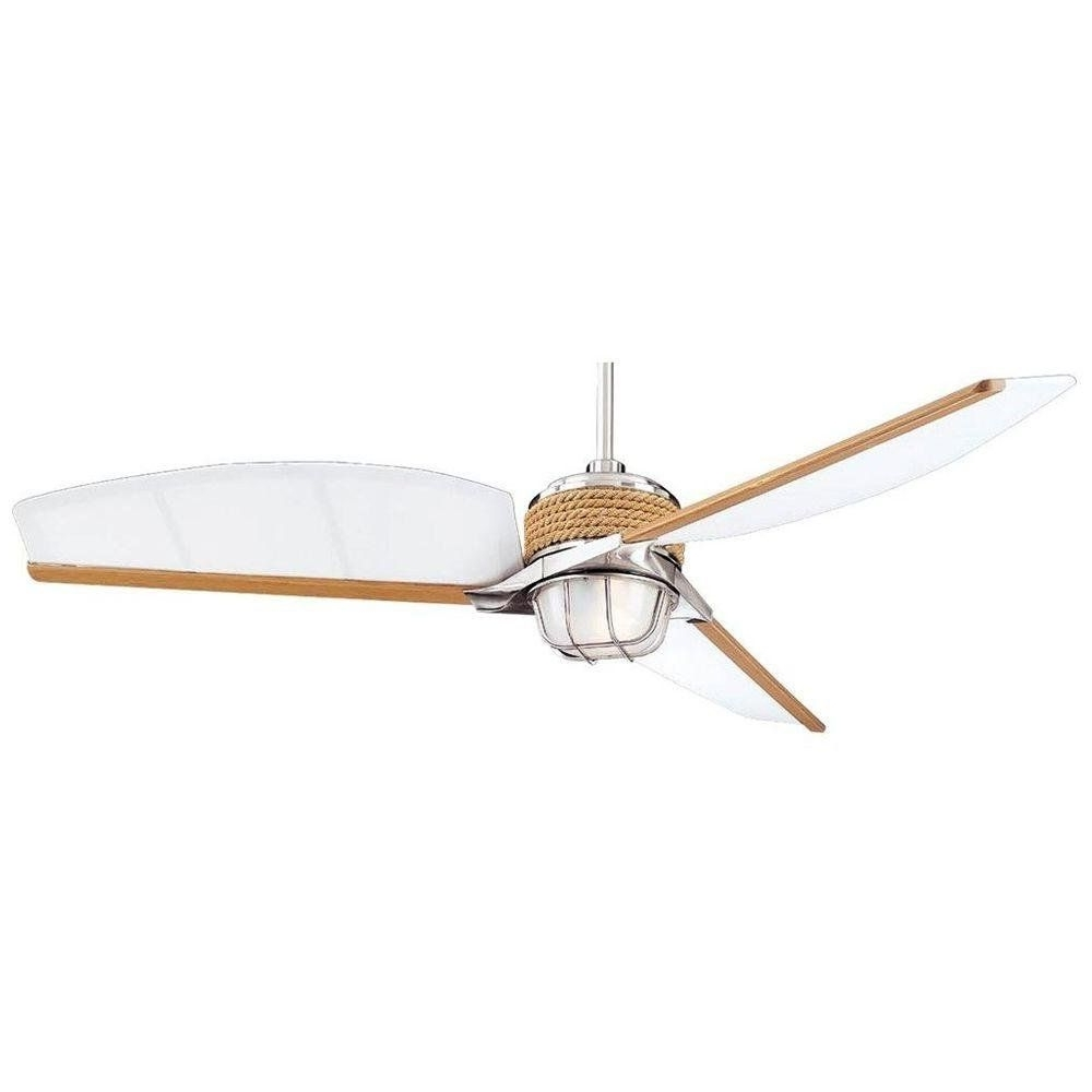 Favorite Outdoor Ceiling Fans At Amazon Intended For Hampton Bay Escape 68 In. Indoor/outdoor Brushed Nickel Ceiling Fan (Gallery 9 of 20)