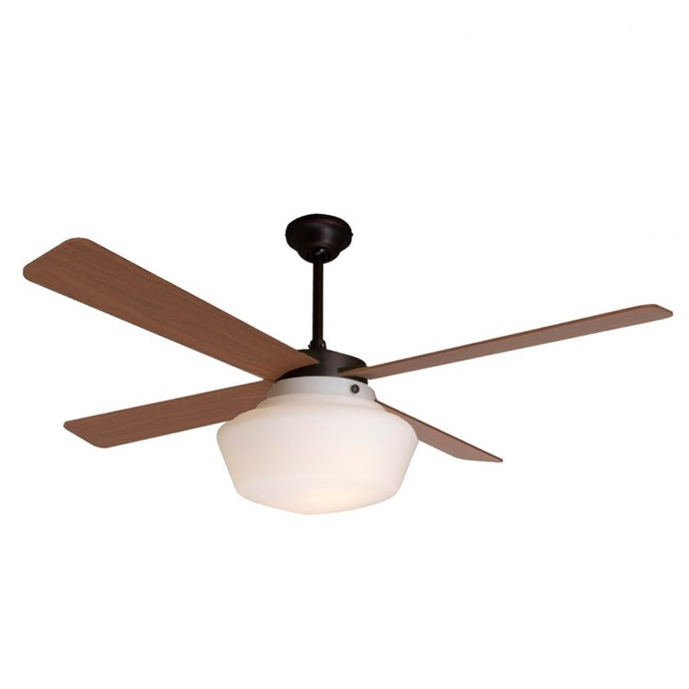 Favorite Outdoor Ceiling Fans With Schoolhouse Light Inside Schoolhouse Ceiling Fan Rubbed Bronze Mahogany Blades – Eid Fans (Gallery 13 of 20)