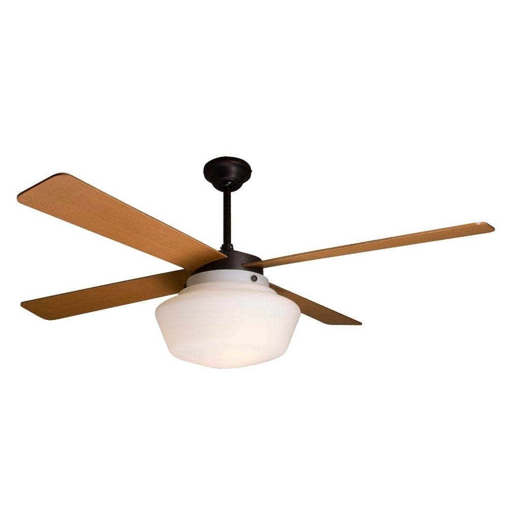 Favorite Outdoor Ceiling Fans With Schoolhouse Light Inside Schoolhouse Ceiling Fan Rubbed Bronze Maple Blades – Eid Fans (Gallery 3 of 20)
