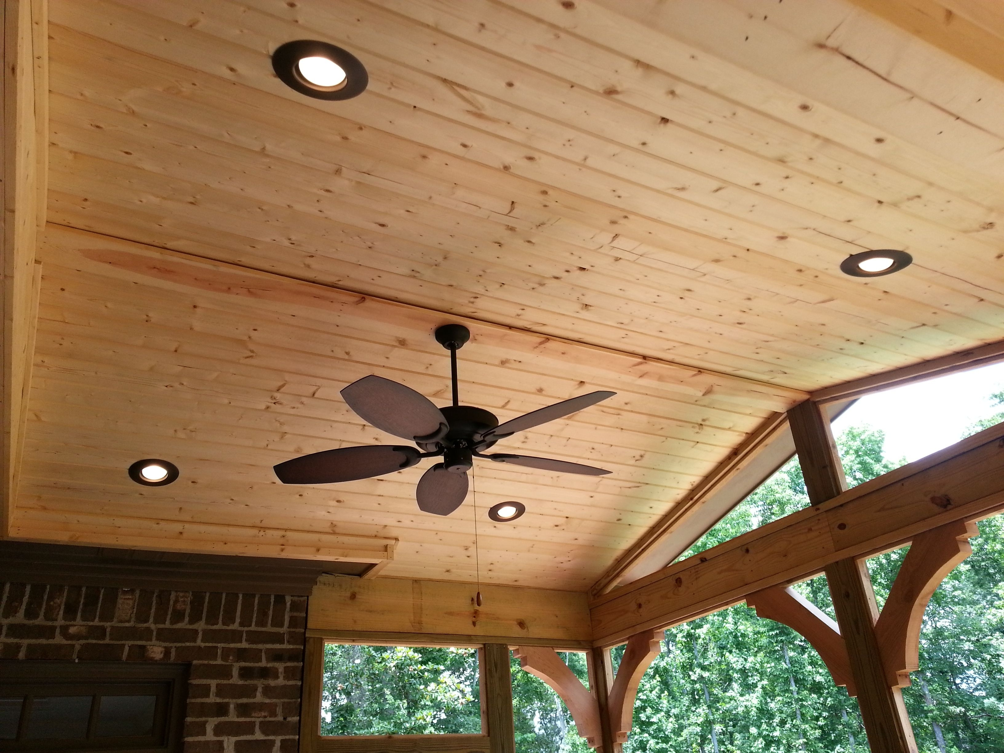 Finished Ceiling With Ceiling Fan And Can Lights – Design Ideas Inside Fashionable Outdoor Ceiling Fan Under Deck (Gallery 20 of 20)