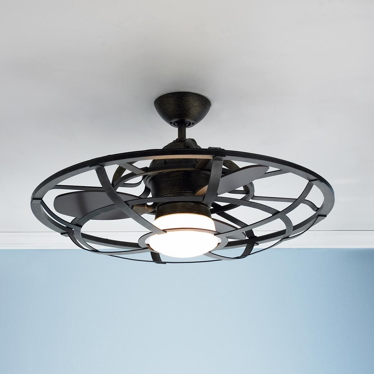Featured Photo of Outdoor Caged Ceiling Fans with Light