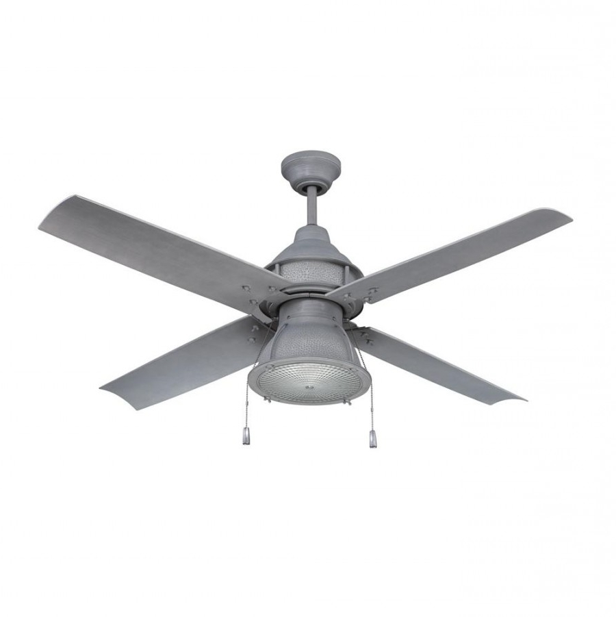 Galvanized Outdoor Ceiling Fans In Latest Craftmade Par52Agv4 Port Arbor 1 Led Light 52 Inch Outdoor Ceiling (Gallery 9 of 20)