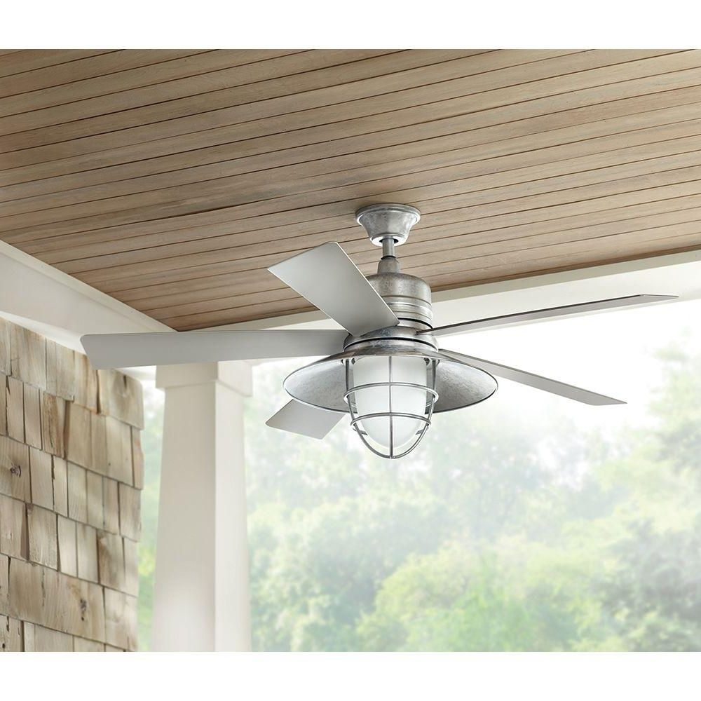 Galvanized Outdoor Ceiling Fans With Light For Most Up To Date Galvanized Indoor Outdoor Ceiling Fan – Outdoor Ideas (Gallery 8 of 20)