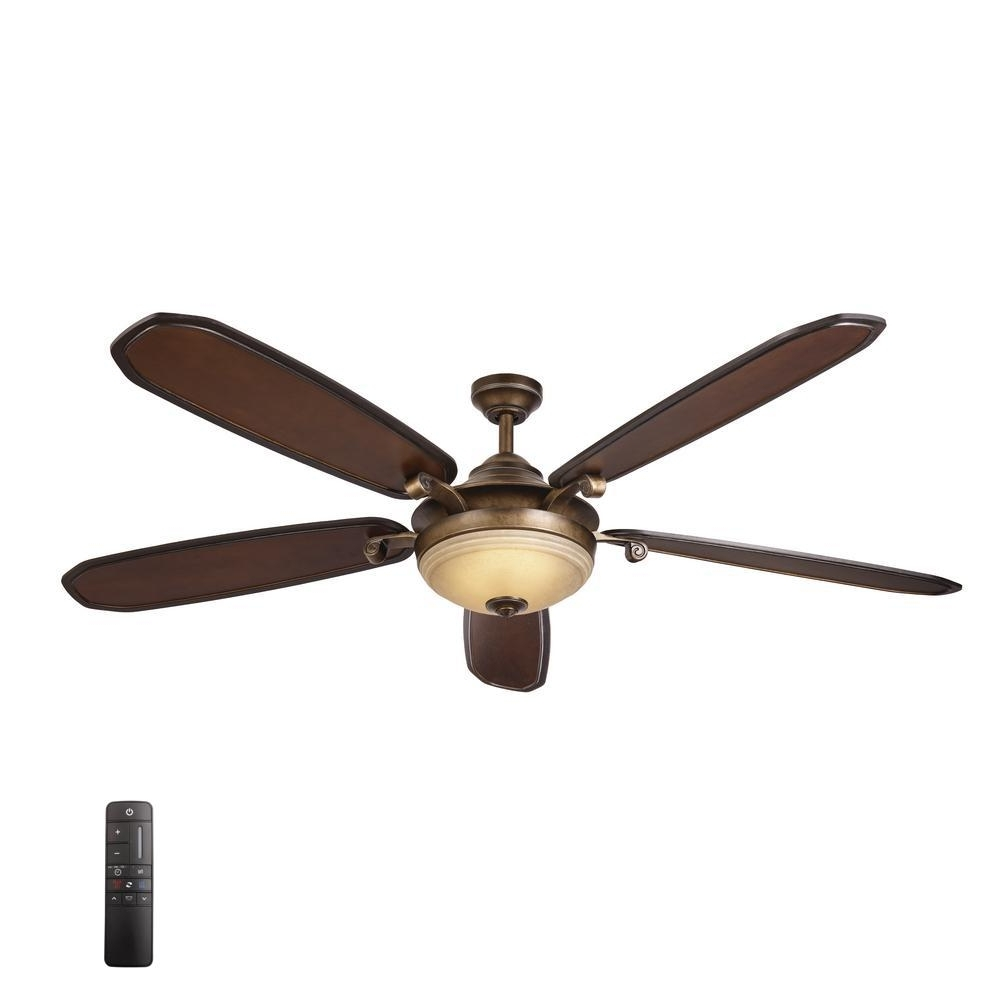 Galvanized Outdoor Ceiling Fans With Light Regarding Most Recent Home Decorators Collection Grayton 54 In. Led Indoor/outdoor (Gallery 16 of 20)