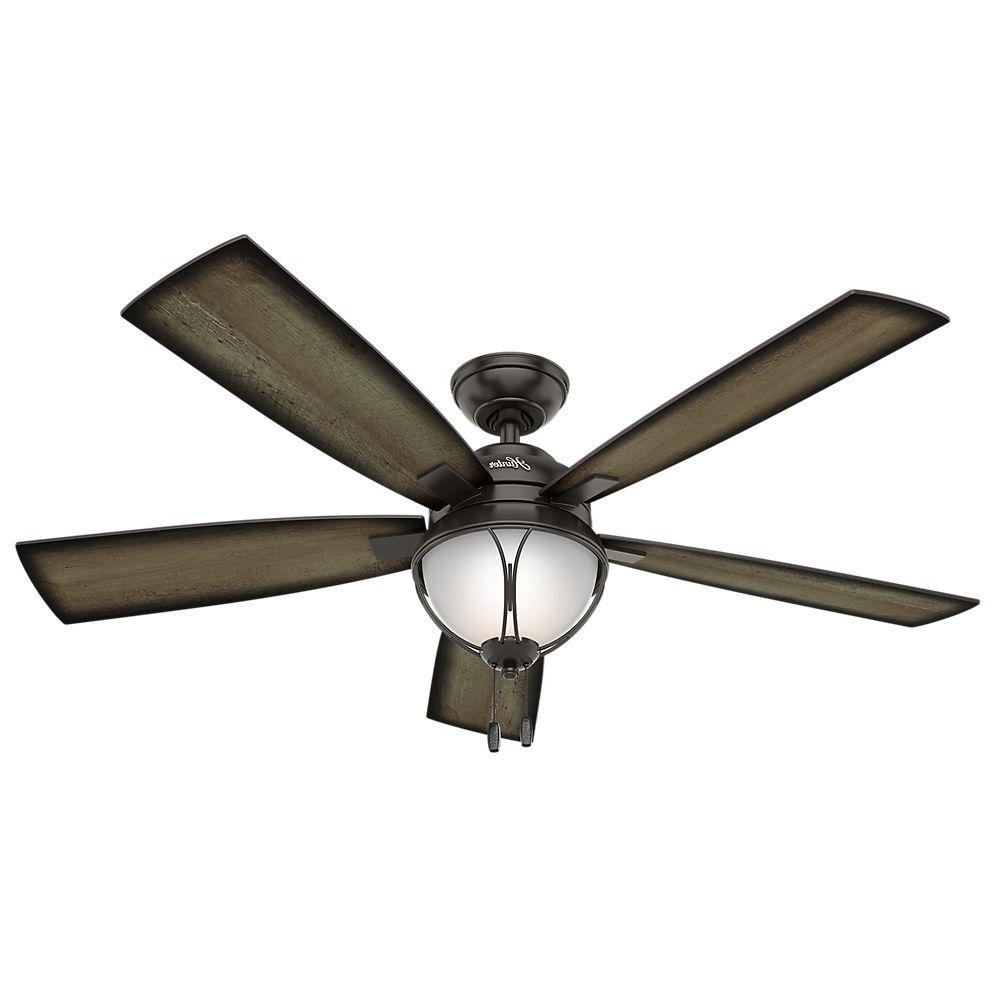 Grey Outdoor Ceiling Fans With 2019 Hunter Sun Vista 54 In. Led Indoor/outdoor Noble Bronze Ceiling Fan (Gallery 8 of 20)