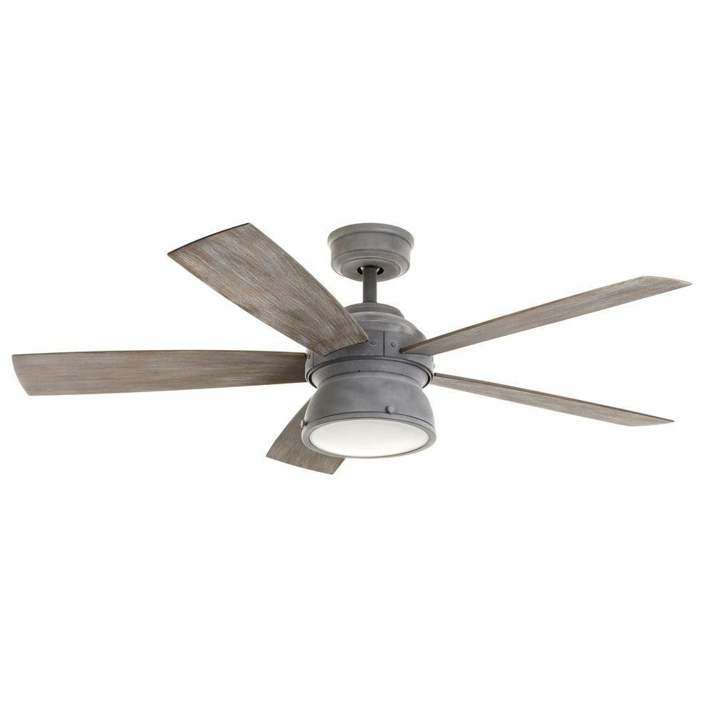 Grey Outdoor Ceiling Fans With Regard To Most Current Home Decorators Collection 52 In. Indoor/outdoor Weathered Gray (Gallery 3 of 20)