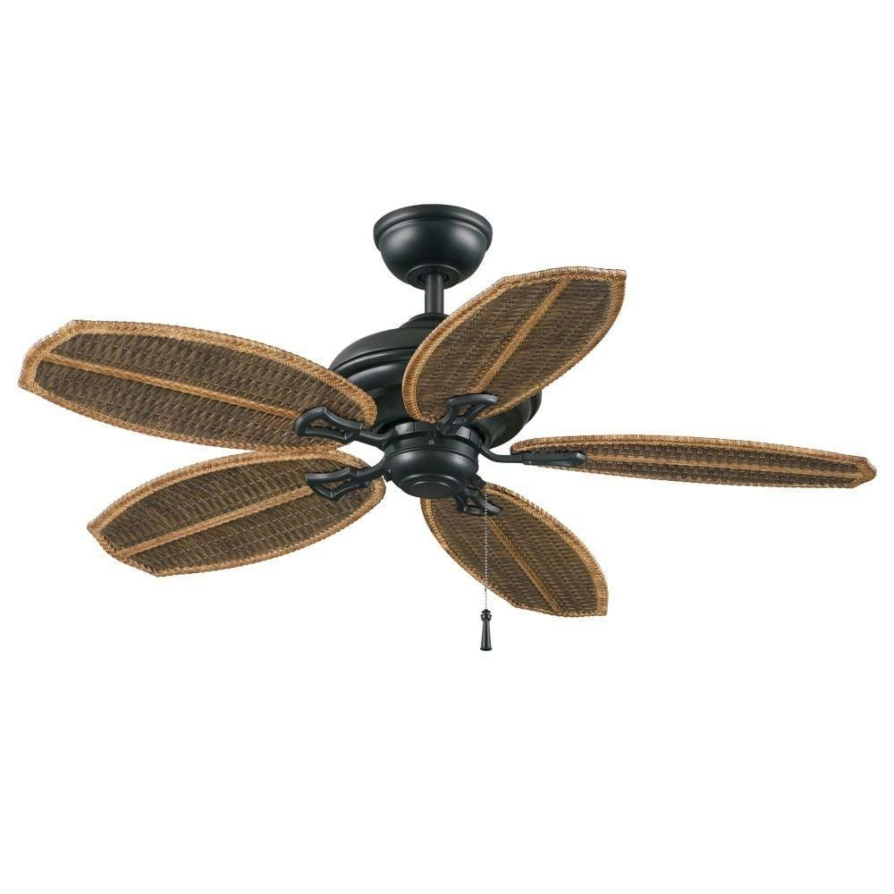 Hampton Bay 48 In. Natural Iron Outdoor Ceiling Fan Wicker Island Intended For Most Recent Wicker Outdoor Ceiling Fans With Lights (Gallery 18 of 20)