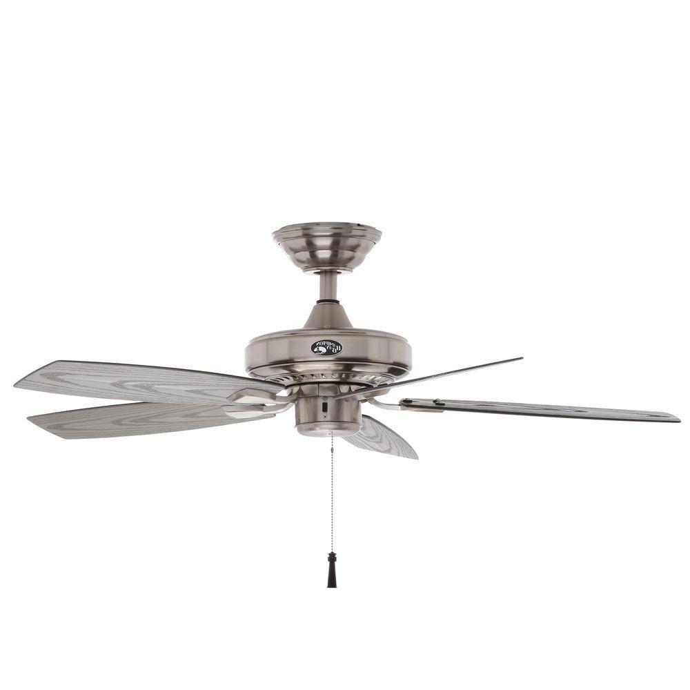 Hampton Bay Gazebo Ii 42 In. Indoor/outdoor Brushed Nickel Ceiling For Recent Outdoor Ceiling Fans And Lights (Gallery 9 of 20)
