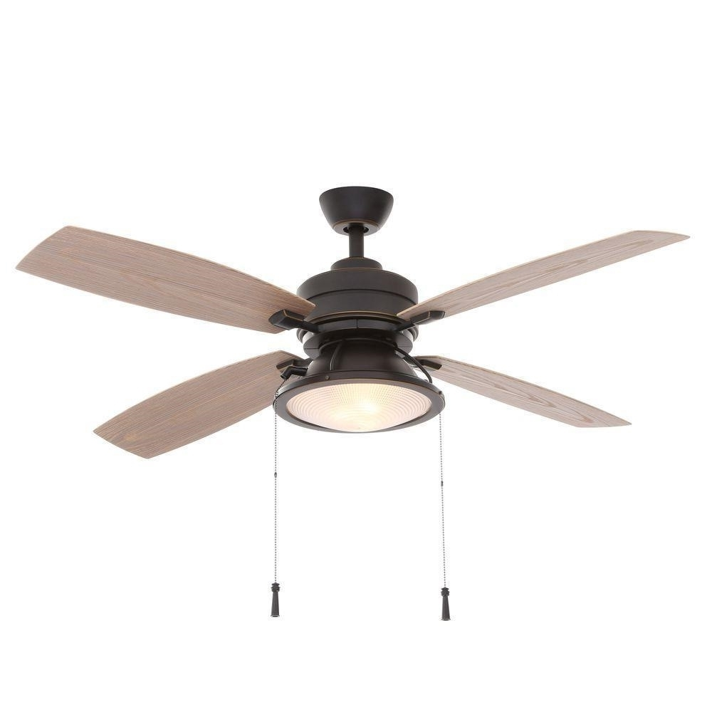 Hampton Bay Kodiak 4 Blades Dark Restoration Bronze Indoor/outdoor With Regard To Current Outdoor Ceiling Fan With Bluetooth Speaker (View 16 of 20)