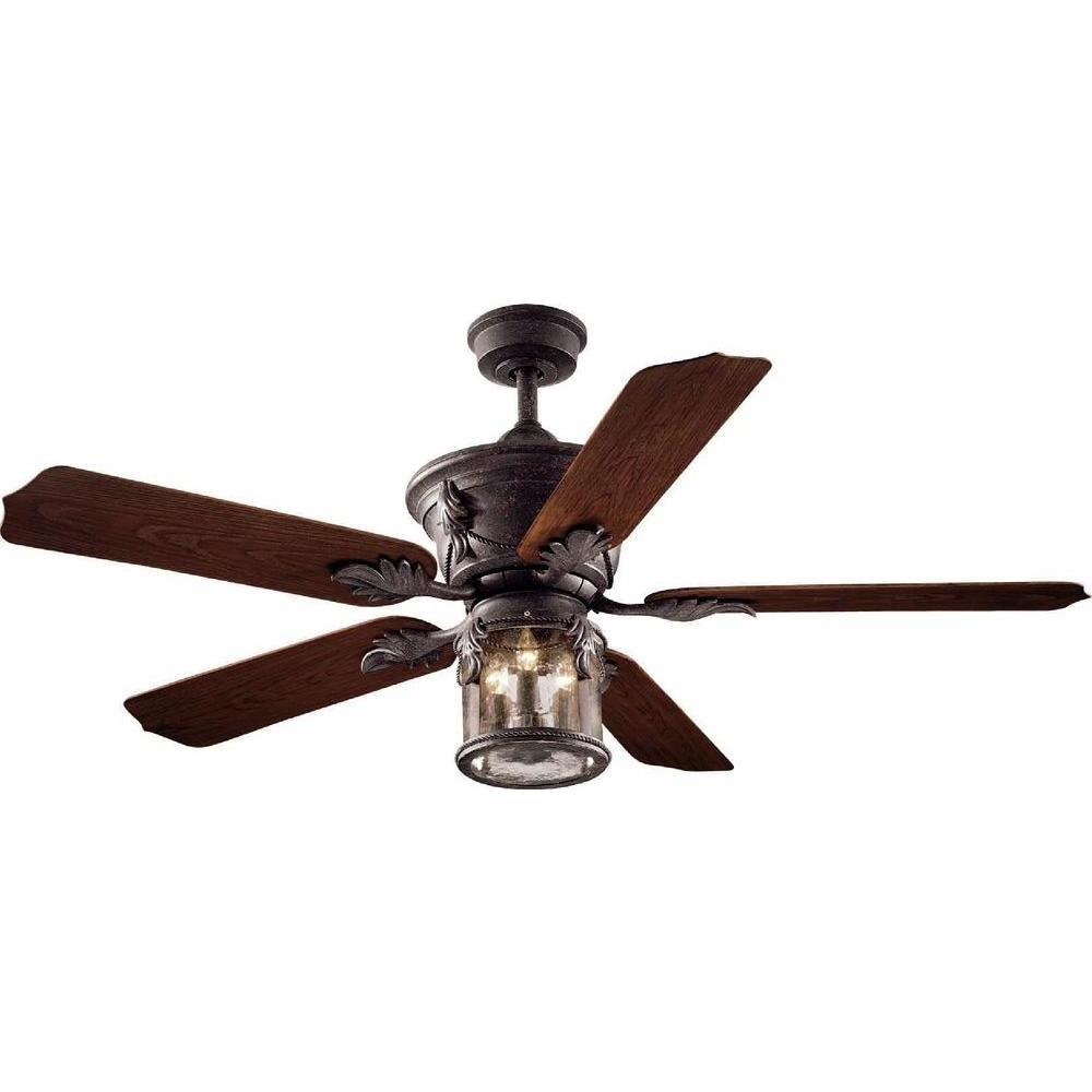 Hampton Bay Milton 52 In. Indoor/outdoor Oxide Bronze Patina Ceiling Pertaining To Well Known Metal Outdoor Ceiling Fans With Light (Gallery 7 of 20)