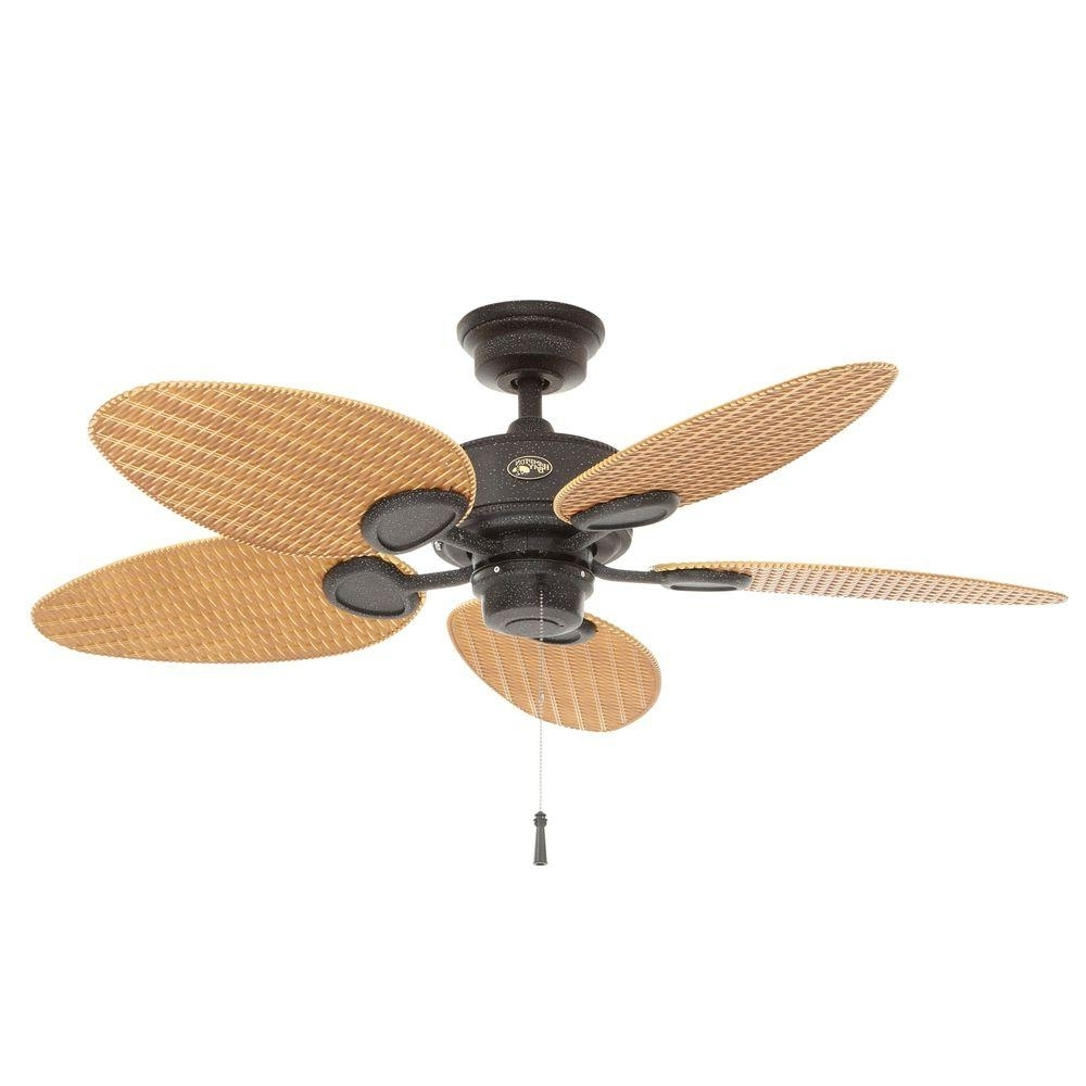 Hampton Bay Palm Beach Ii 48 In. Indoor/outdoor Natural Iron Ceiling Throughout Newest 48 Outdoor Ceiling Fans With Light Kit (Gallery 2 of 20)