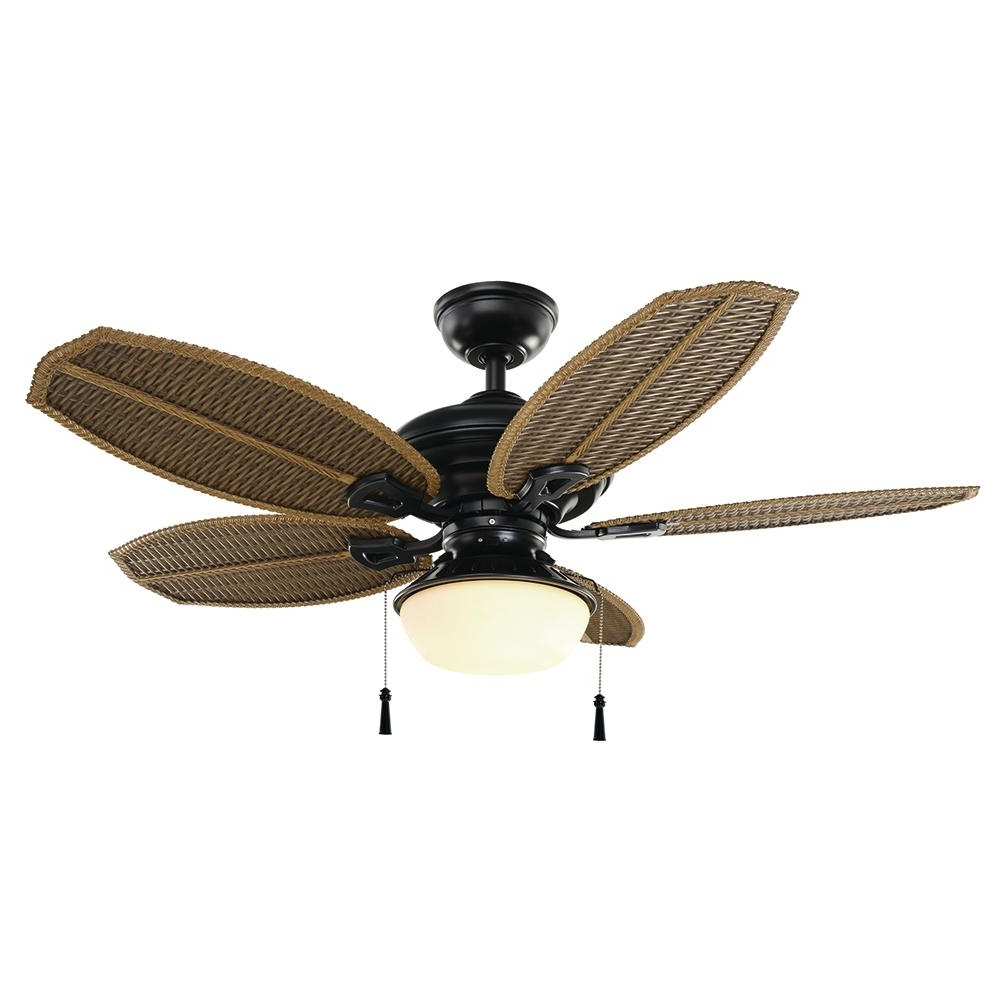 Hampton Bay Palm Beach Iii 48 In. Led Indoor/outdoor Natural Iron Inside Well Known 48 Outdoor Ceiling Fans With Light Kit (Gallery 14 of 20)