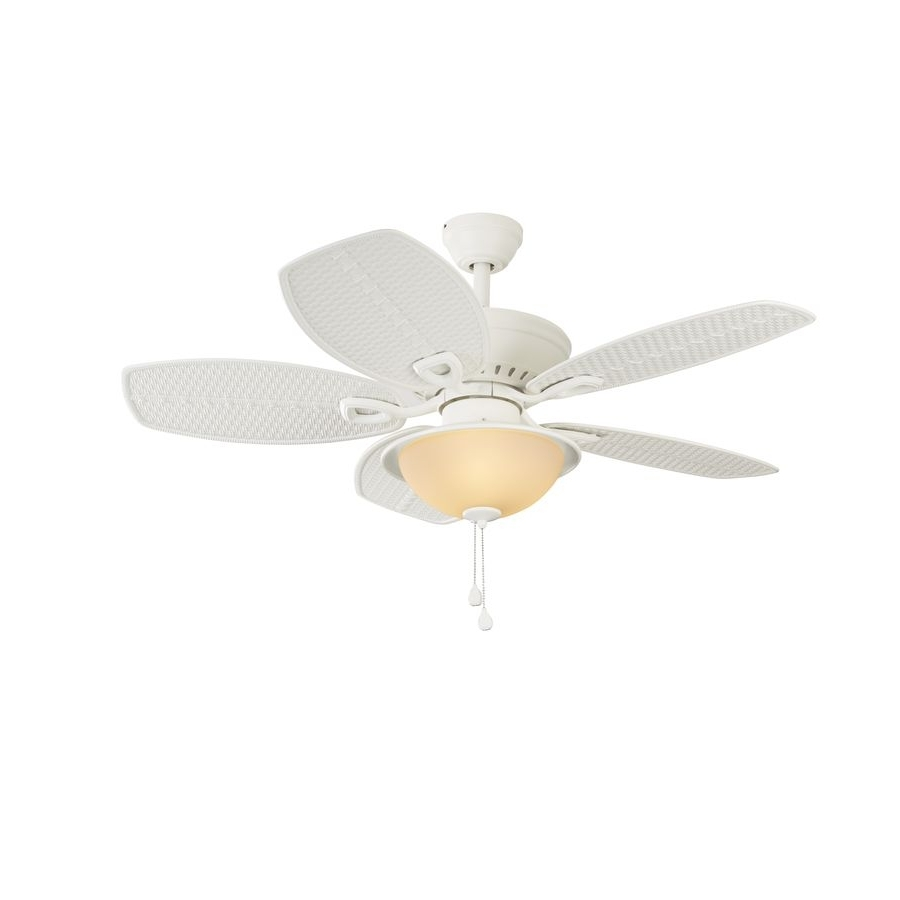 Harbor Breeze Outdoor Ceiling Fans With Lights Throughout Most Popular Harbor Breeze Cedar Shoals 44 In White Downrod Or Close Mount Indoor (View 8 of 20)