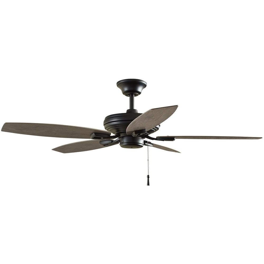 Heavy Duty Outdoor Ceiling Fans Inside Most Popular Hampton Bay North Pond 52 In. Indoor/outdoor Matte Black Ceiling Fan (Gallery 16 of 20)