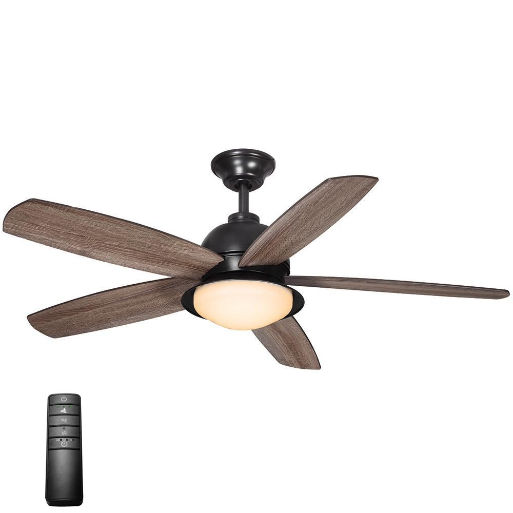 Home Decorators Collection Ackerly 52 In. Led Indoor/outdoor Natural With Most Popular Indoor Outdoor Ceiling Fans With Lights And Remote (Gallery 5 of 20)