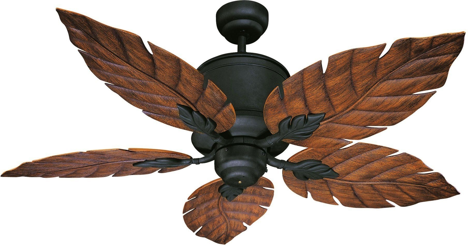 """Horseshoe Black Portico Portico 52"""" Five Blade Outdoor Ceiling Fan Inside Most Up To Date Leaf Blades Outdoor Ceiling Fans (Gallery 7 of 20)"""