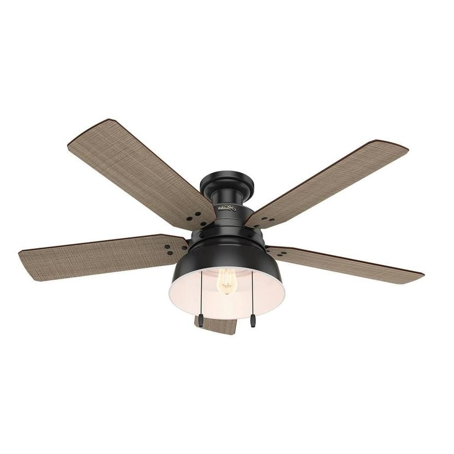 Hunter 1 Pack Mill Valley 52 In Matte Black Flush Mount Indoor Regarding 2018 Outdoor Ceiling Fans Flush Mount With Light (View 9 of 20)