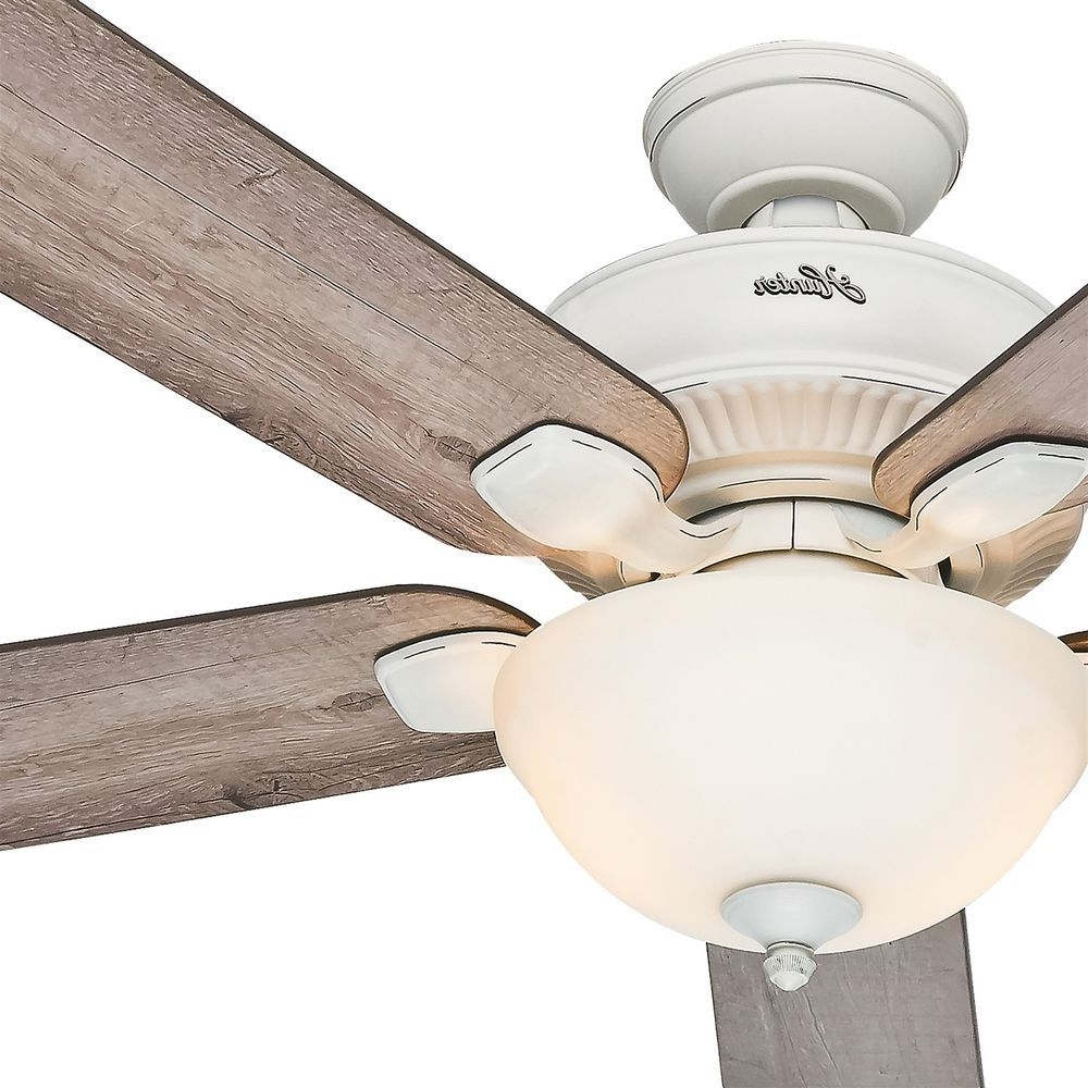 "Hunter 52"" Cottage White Outdoor Ceiling Fan With Grey Pine Blades Within 2018 Hunter Outdoor Ceiling Fans With White Lights (Gallery 19 of 20)"