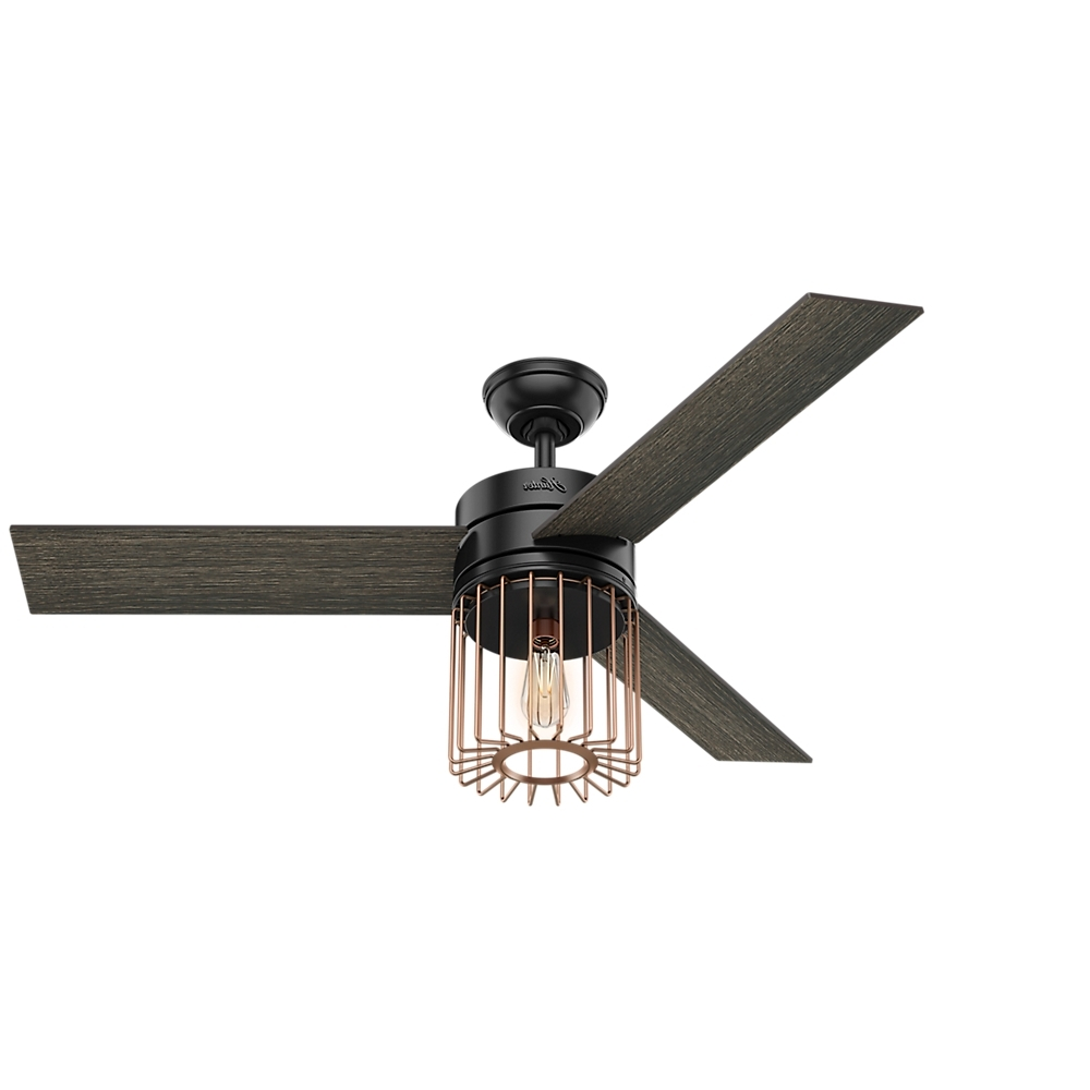"Hunter 52"" Ronan Matte Black Ceiling Fan With Light With Handheld Throughout Well Liked Energy Star Outdoor Ceiling Fans With Light (Gallery 15 of 20)"