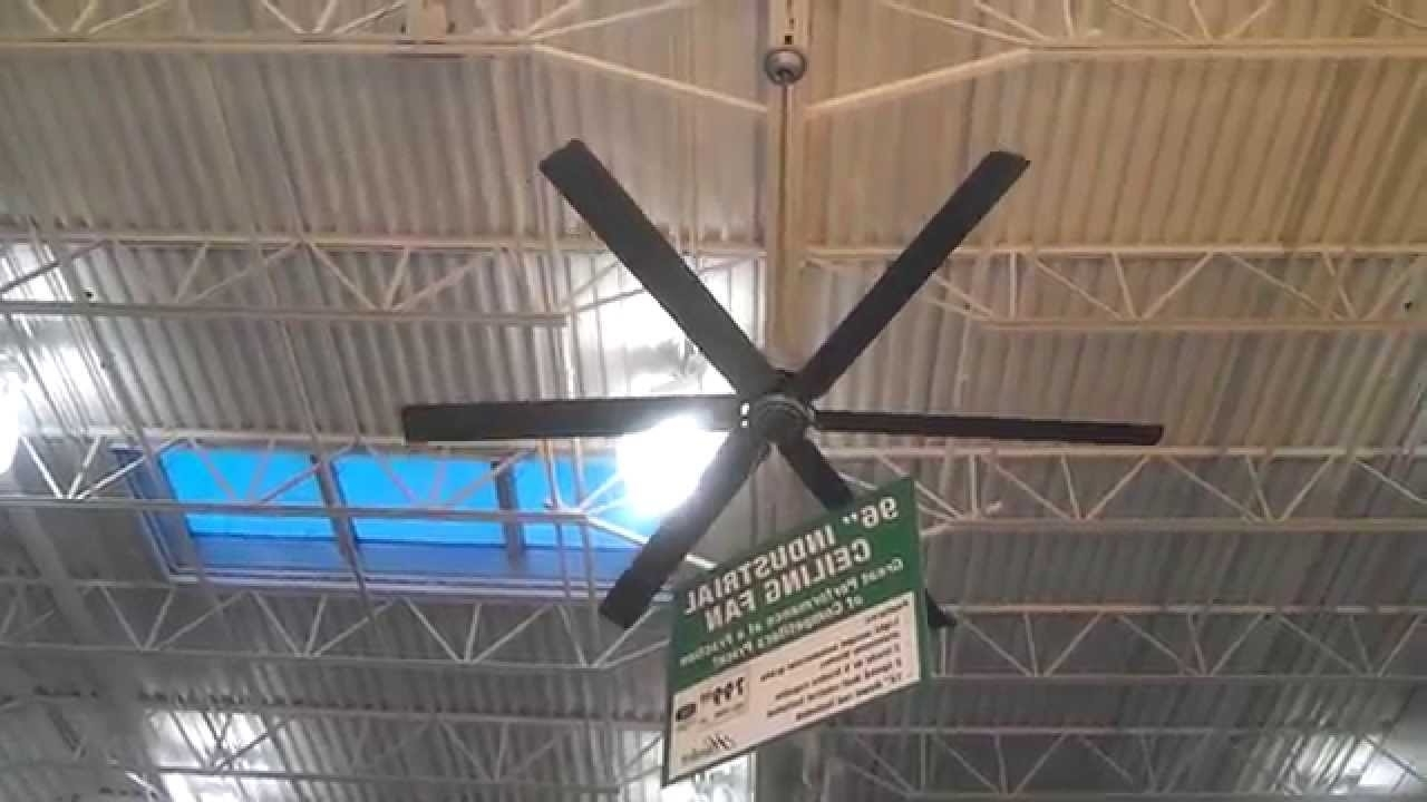 "Hunter 96"" Satin Metal Industrial Ceiling Fan At Menards – Off, Low Inside 2019 Outdoor Ceiling Fans For High Wind Areas (View 8 of 20)"