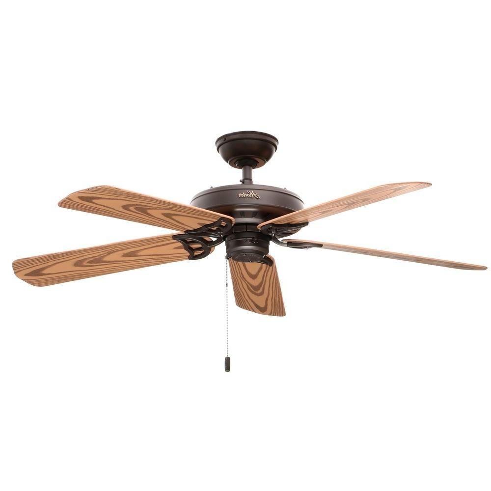 Hunter Bridgeport 52 In. Indoor/outdoor New Bronze Ceiling Fan 53126 Within Favorite Outdoor Electric Ceiling Fans (Gallery 7 of 20)