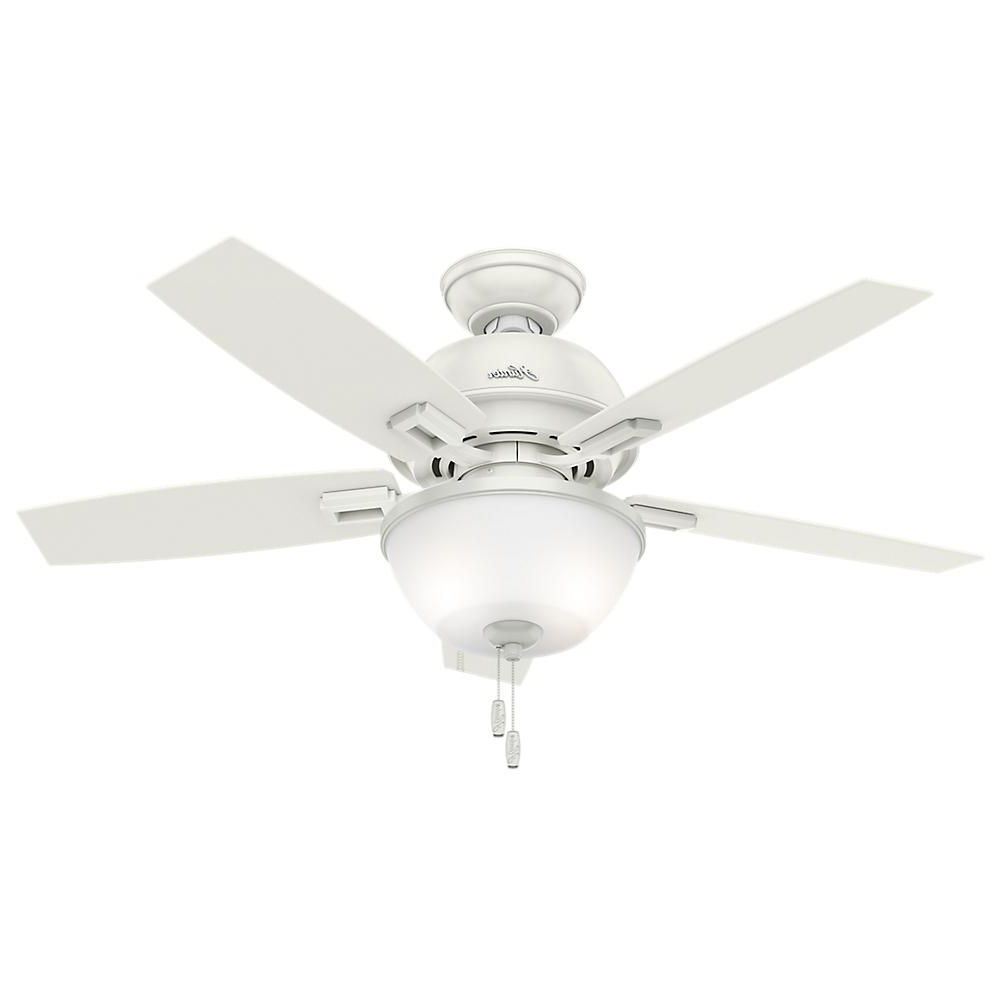 Hunter Donegan 44 In. Led Indoor Fresh White Ceiling Fan With Bowl Pertaining To Famous 44 Inch Outdoor Ceiling Fans With Lights (Gallery 6 of 20)