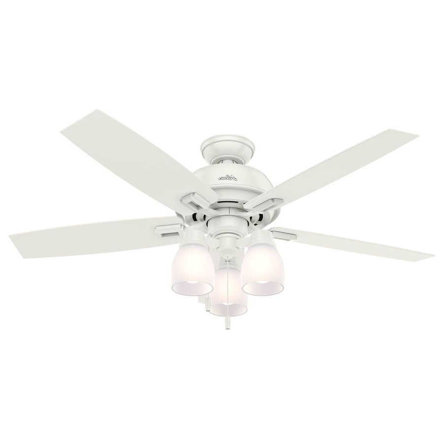Hunter Donegan 52 In Fresh White Downrod Or Close Mount Indoor With Most Current 48 Inch Outdoor Ceiling Fans With Light (Gallery 18 of 20)
