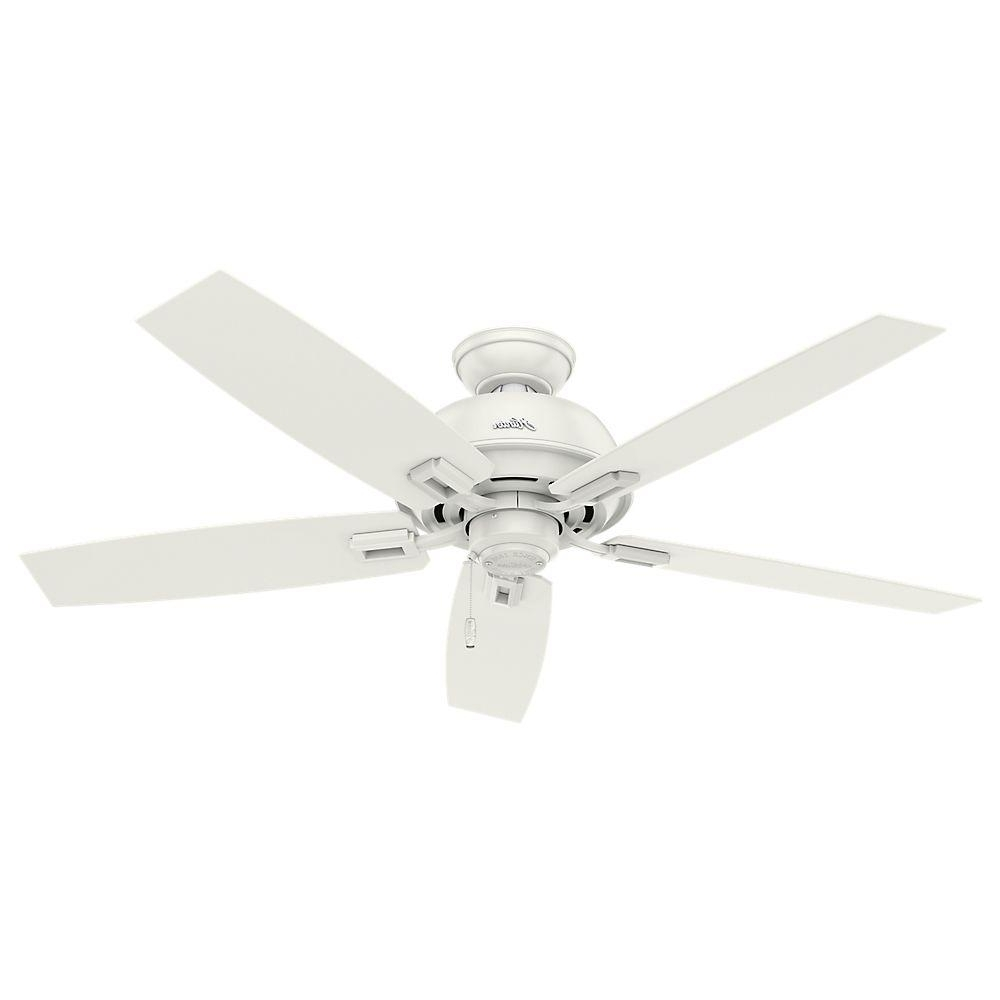 Hunter Donegan 52 In. Indoor/outdoor Fresh White Ceiling Fan 54168 Regarding Famous Outdoor Ceiling Fans With Plastic Blades (Gallery 2 of 20)