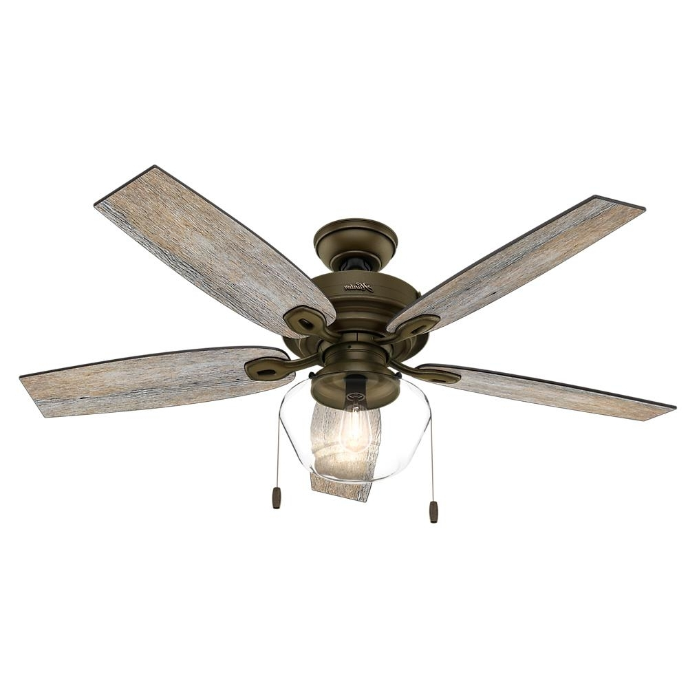 Hunter Donegan 52 In. Led Indoor Onyx Bengal Bronze Ceiling Fan With Pertaining To Current Vertical Outdoor Ceiling Fans (Gallery 7 of 20)