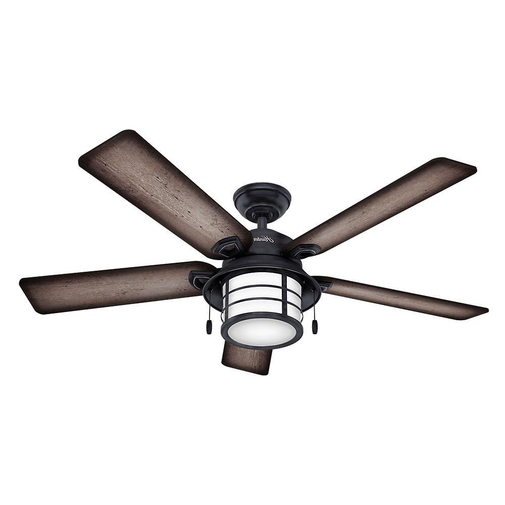 Hunter Key Biscayne 54 In. Indoor/outdoor Weathered Zinc Gray With Popular Outdoor Ceiling Fans With Plastic Blades (Gallery 5 of 20)