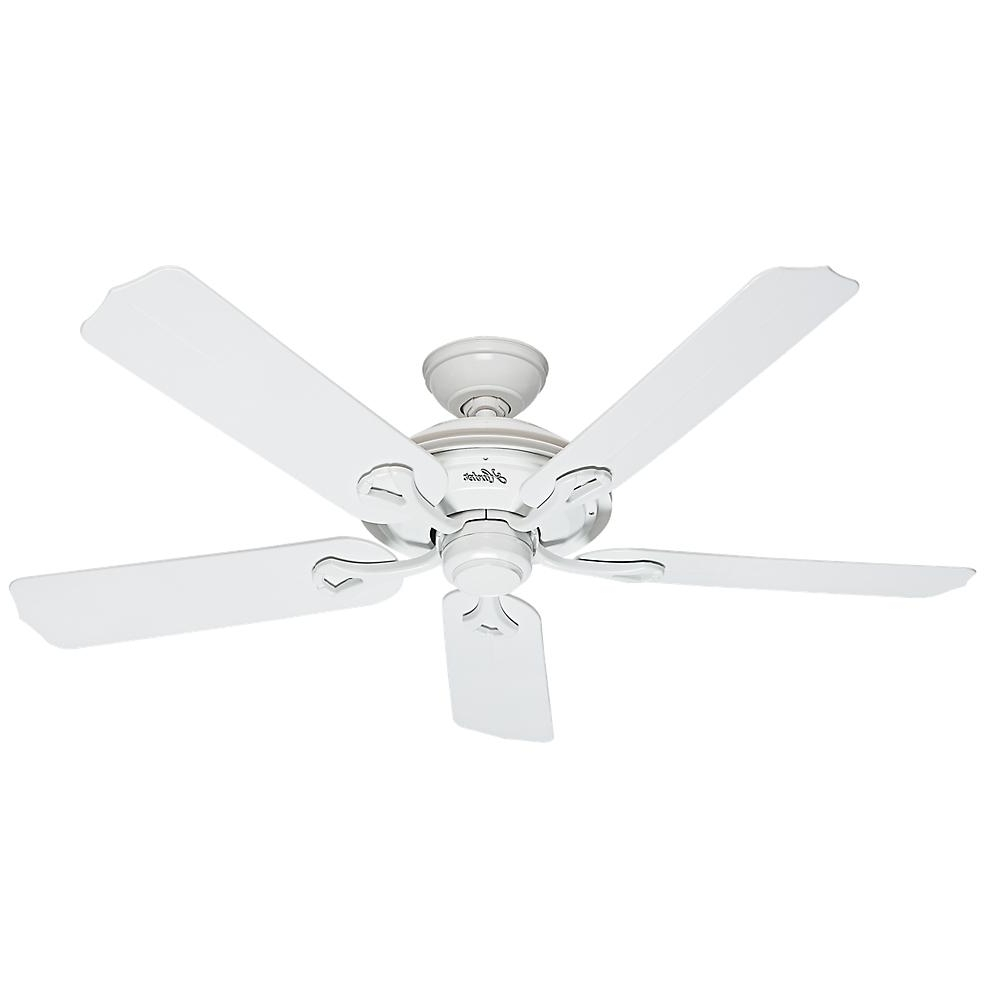 Hunter Mariner 52 In. Indoor/outdoor White Ceiling Fan 59127 – The For Widely Used Hunter Outdoor Ceiling Fans With White Lights (Gallery 5 of 20)