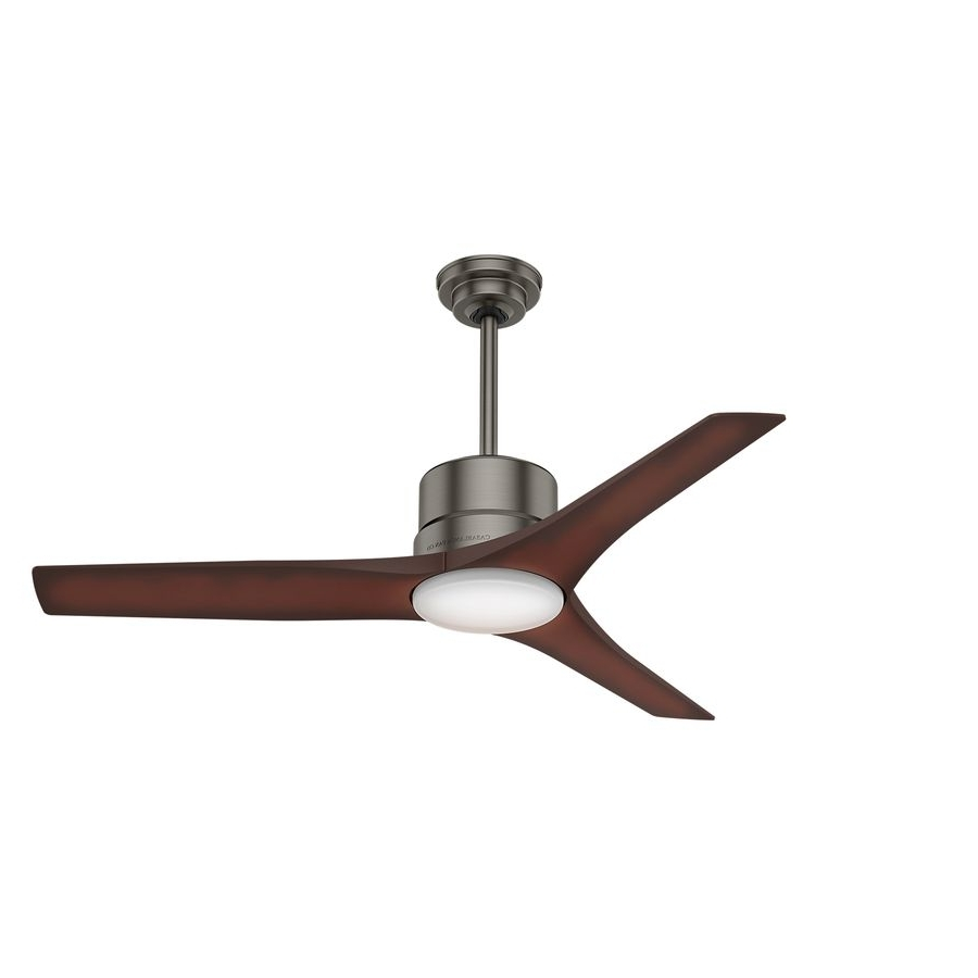 Indoor Outdoor Ceiling Fans With Lights And Remote Within Most Recent Casablanca Piston 52 In Brushed Slate Downrod Mount Indoor/outdoor (View 13 of 20)