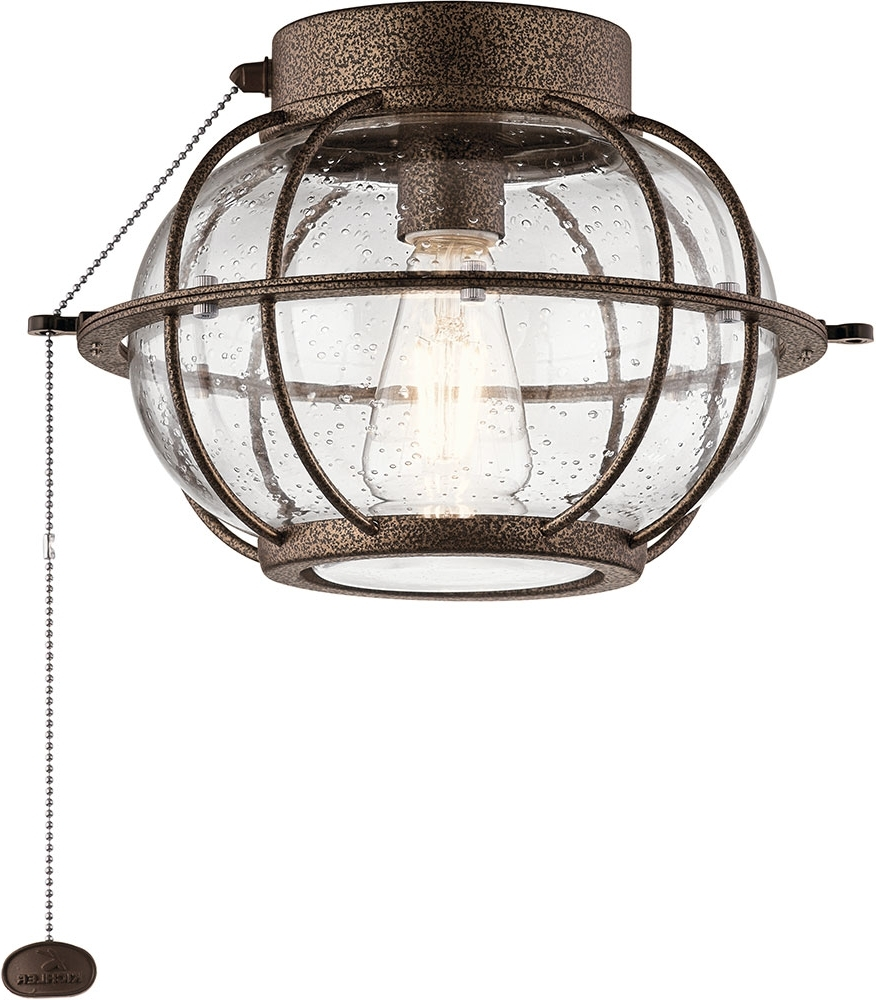 Kichler 380945Wcp Bridge Point Contemporary Weathered Copper Powder Pertaining To Well Liked Kichler Outdoor Ceiling Fans With Lights (View 7 of 20)
