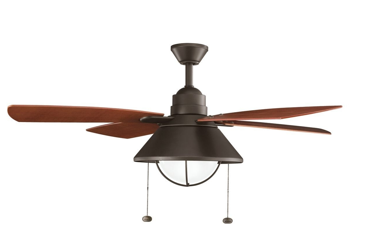 """Kichler Seaside 54"""" Outdoor Ceiling Fan With Blades Light Kit In Most Recently Released Outdoor Ceiling Fans With Pull Chains (View 15 of 20)"""
