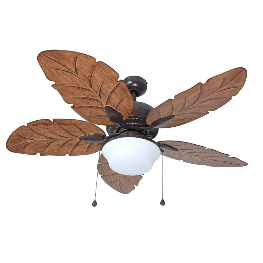 Large Outdoor Ceiling Fans With Lights Throughout Latest Shop Harbor Breeze Waveport 52 In Weathered Bronze Indoor/outdoor (View 11 of 20)