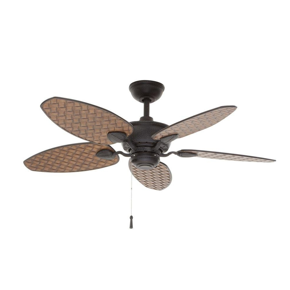 Latest Hampton Bay Largo 48 In. Indoor/outdoor Gilded Iron Ceiling Fan Pertaining To Large Outdoor Ceiling Fans With Lights (Gallery 3 of 20)