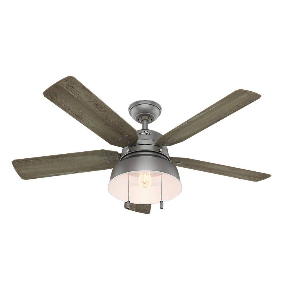 Latest Hunter Mill Valley 52 In. Led Indoor/outdoor Matte Silver Ceiling Intended For Grey Outdoor Ceiling Fans (Gallery 2 of 20)