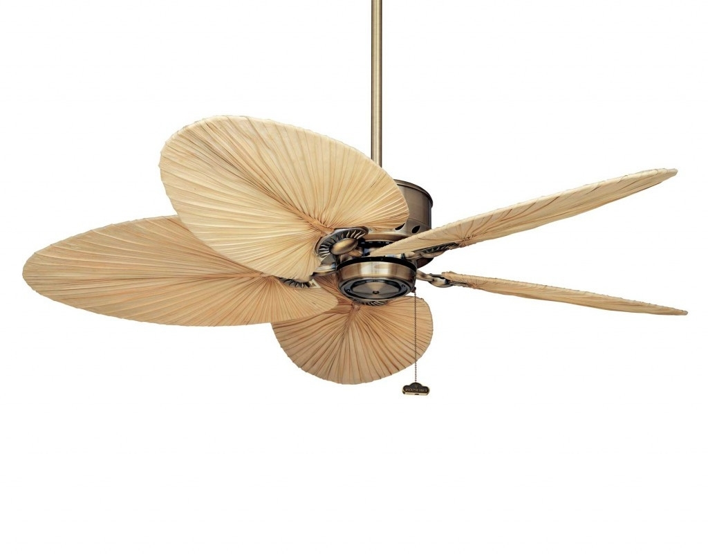 Latest Outdoor Ceiling Fans Design With Tropical Leaf Blades And Regarding Tropical Design Outdoor Ceiling Fans (Gallery 4 of 20)