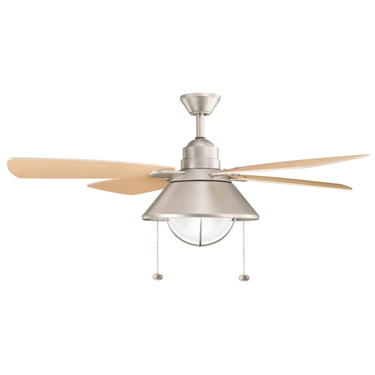 Metal Outdoor Ceiling Fans With Light For 2018 Kichler Fans Seaside Ceiling Fan In Brushed Nickel (View 17 of 20)