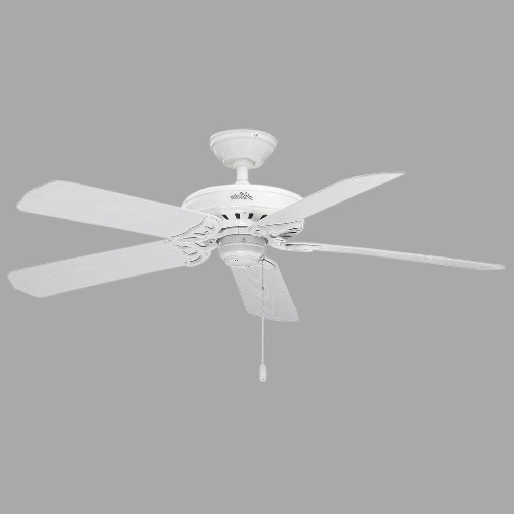 Most Current Hunter Bridgeport 52 In. Indoor/outdoor White Damp Rated Ceiling Fan Inside Outdoor Ceiling Fans With Lights Damp Rated (Gallery 13 of 20)