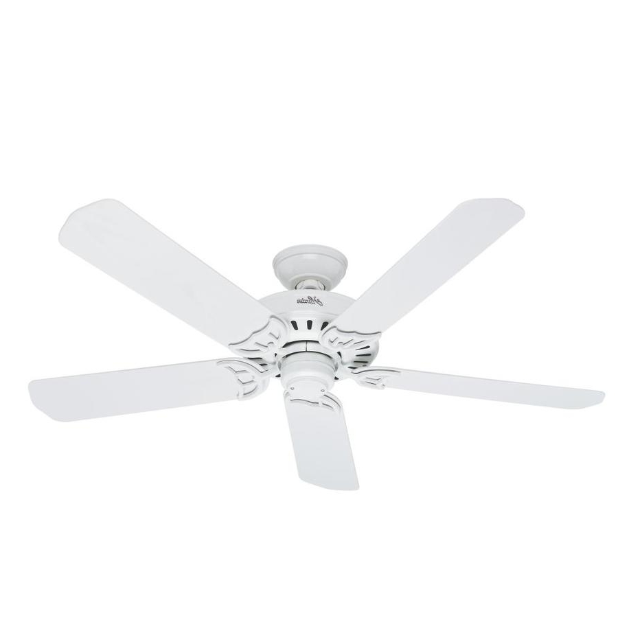 Most Current Hunter Outdoor Ceiling Fans With White Lights For Shop Hunter Bridgeport 52 In White Indoor/outdoor Ceiling Fan At (View 8 of 20)