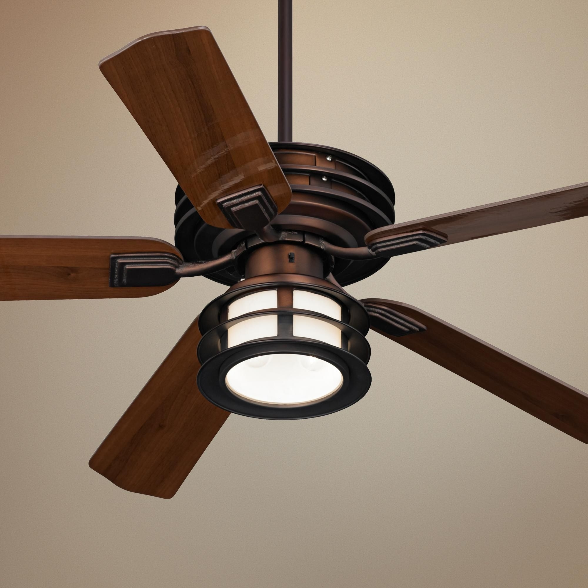 "Most Current Mission Style Outdoor Ceiling Fans With Lights Inside 52"" Casa Vieja Mission Ii Bronze Outdoor Ceiling Fan (Gallery 7 of 20)"
