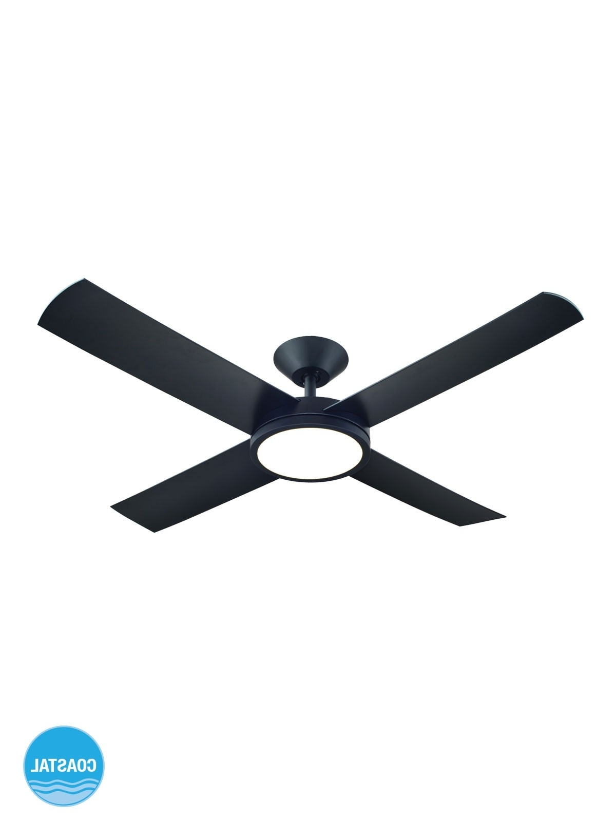 Most Current Outdoor Ceiling Fan With Light Under $100 Regarding Aero 132Cm Fan With Led Light In Black (Gallery 9 of 20)