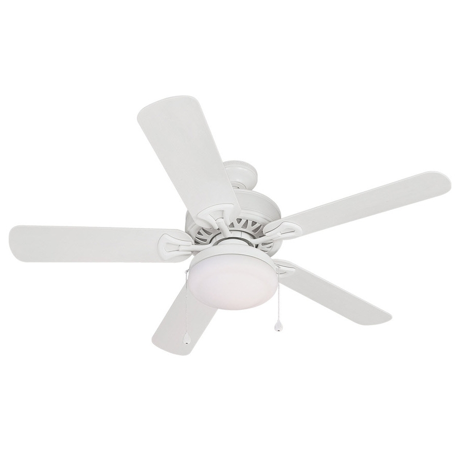 Most Current White Outdoor Ceiling Fans With Lights Regarding Shop Harbor Breeze 52 In Calera White Outdoor Ceiling Fan With Light (View 8 of 20)
