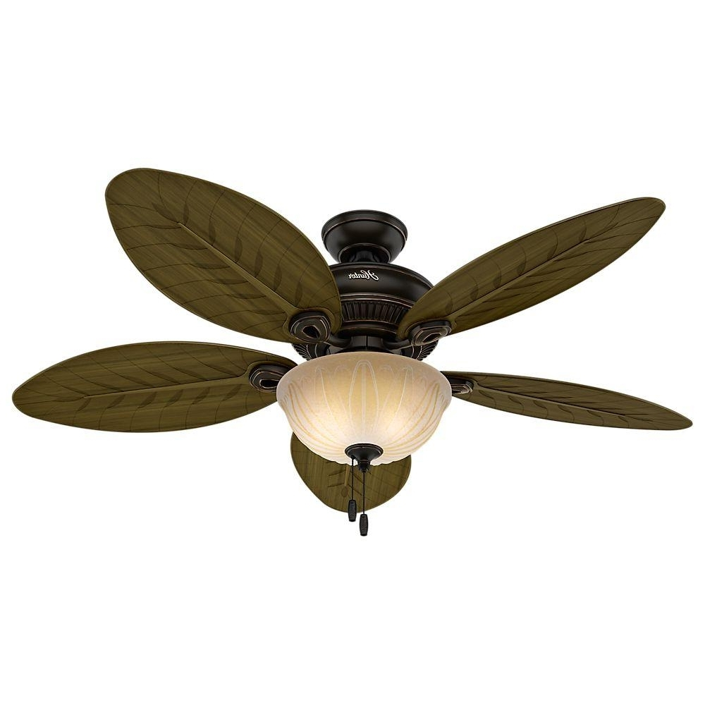 Most Popular Outdoor Ceiling Fans With Lights Damp Rated In Hunter Grand Cayman 54 In. Indoor/outdoor Onyx Bengal Bronze Ceiling (Gallery 4 of 20)