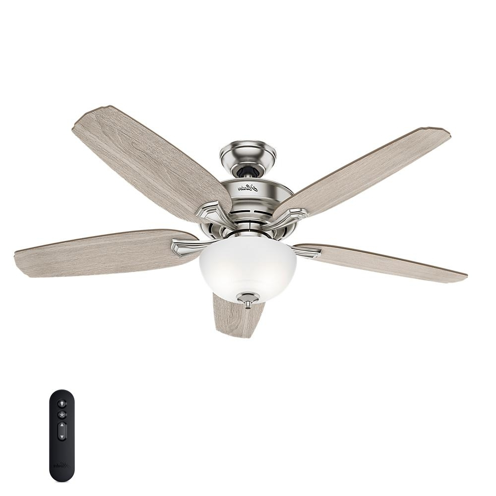 Most Popular Outdoor Ceiling Fans With Removable Blades For Hunter Channing 54 In. Led Indoor Easy Install Brushed Nickel (Gallery 4 of 20)