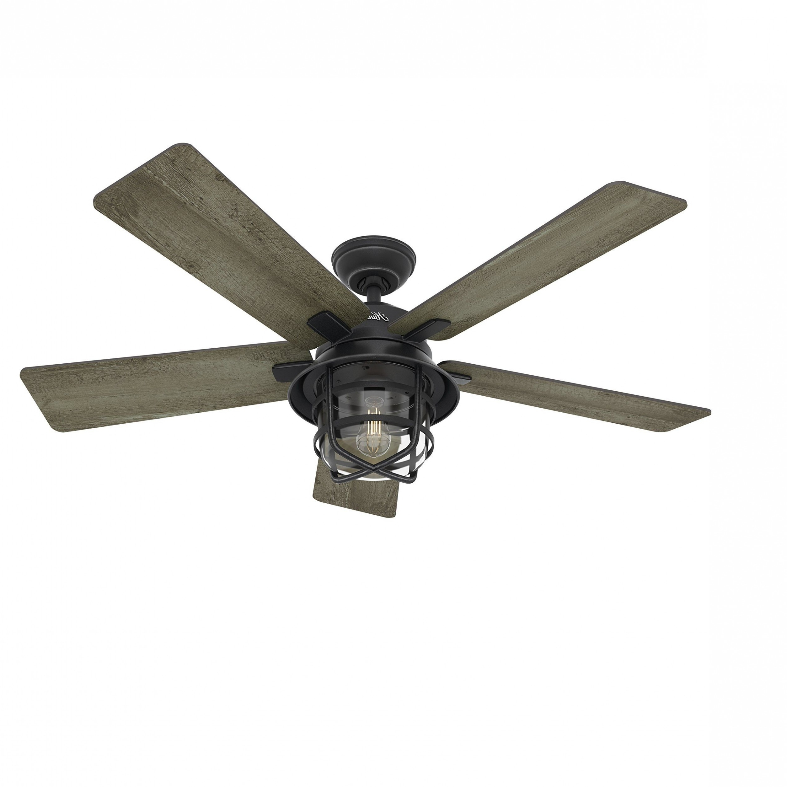 "Most Popular Traditional Outdoor Ceiling Fans Pertaining To Hunter 52"" Traditional Bronze Finish Ceiling Fan With 4 Bulb Light (View 9 of 20)"