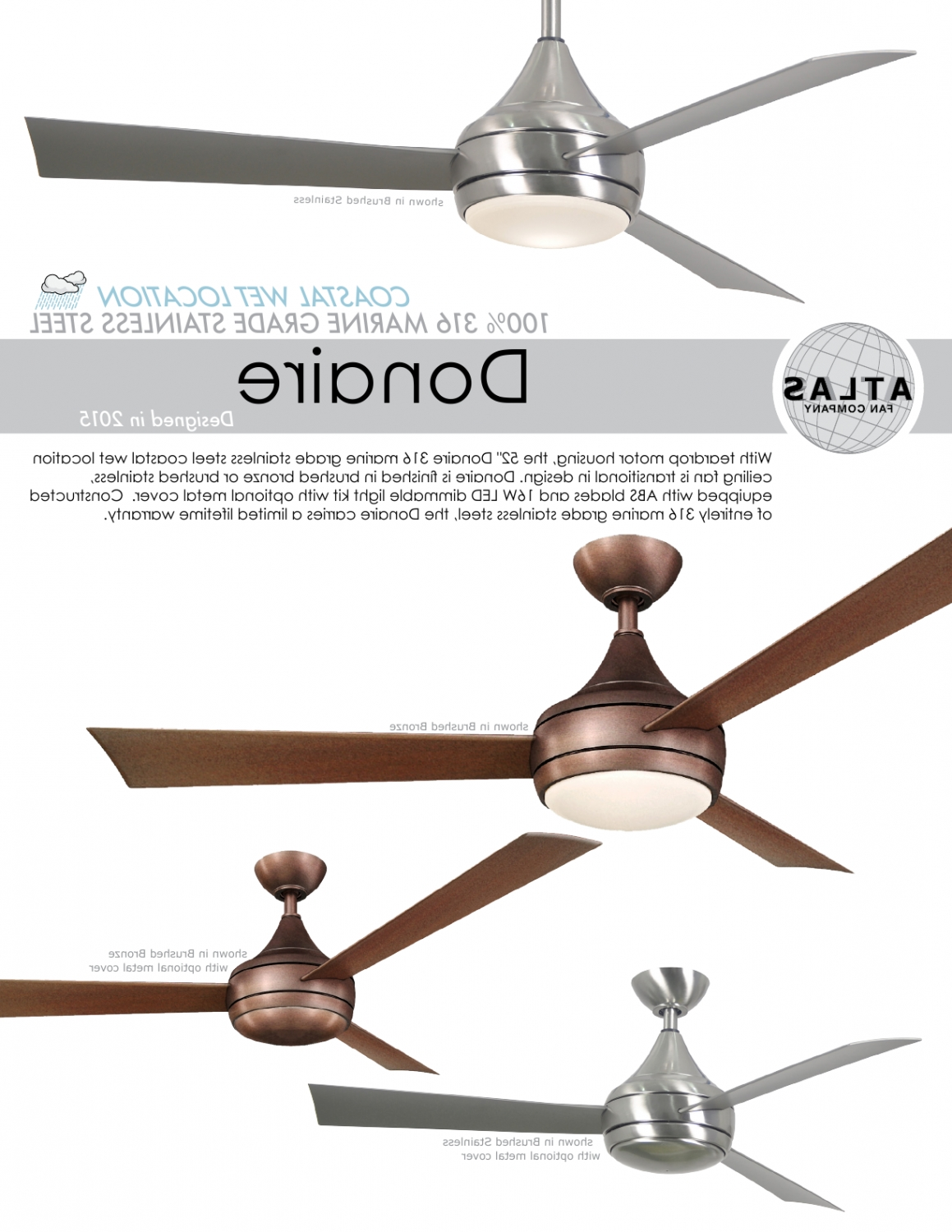 Most Recent Donaire Ceiling Fan For Balcony Terrace Verandah Outdoor Spaces With Regard To Stainless Steel Outdoor Ceiling Fans With Light (Gallery 19 of 20)